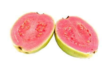 divided: Guava divided in the half part on white . Stock Photo