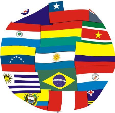 Am�rica del Sur banderas de los pa�ses en el mundo.  Foto de archivo - 2371039