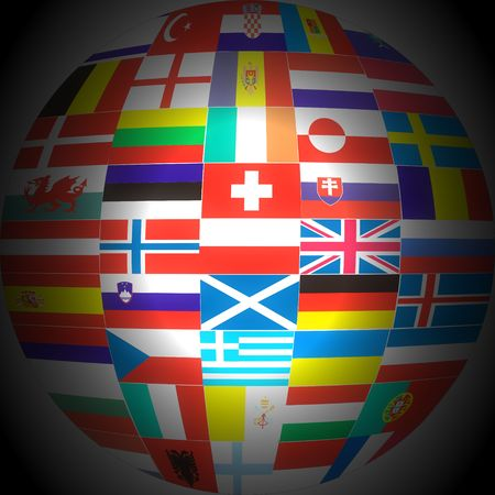 Flags of Europe Countries in a globe . photo