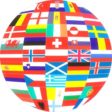 Flags of Europe Countries in a globe . Stock Photo