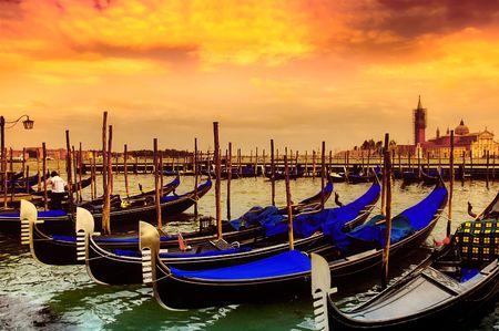 venice italy: Gondola Parking, Venice - Italy .