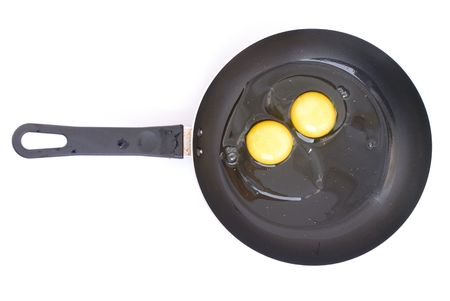 craked: Raw Egg in frying pan over white .