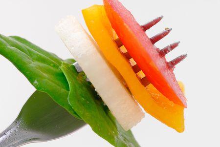 jab: Vegetarian Food jab in the fork .