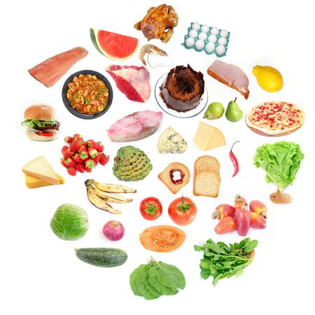 Circle of Food: Lots of Healthy and Un-Healthy food . Stock Photo