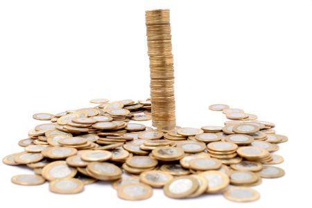 plundering: Braziliaanse valuta - One Real munten.  Stockfoto
