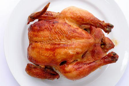 Tasty Crispy Roast Chicken on white plate . Stock Photo - 3033653