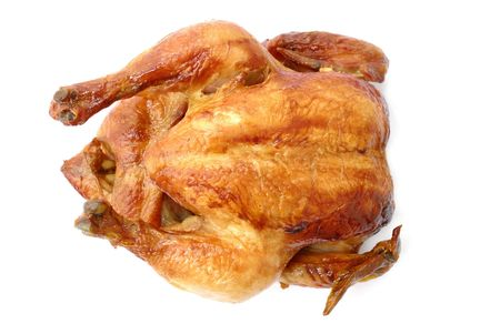 Tasty Crispy Roast Chicken on white . Stock Photo - 3033652