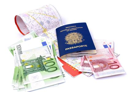 Map, Euro Currencies and a Brazilian Passport . photo