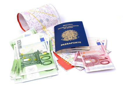 Madrid Map, Euros Currency and a Brazilian Passport photo