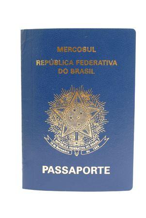 New Brazilian Passport on white background . Stock Photo