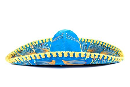 mexican background: Mexican Mariachi hat on white background .