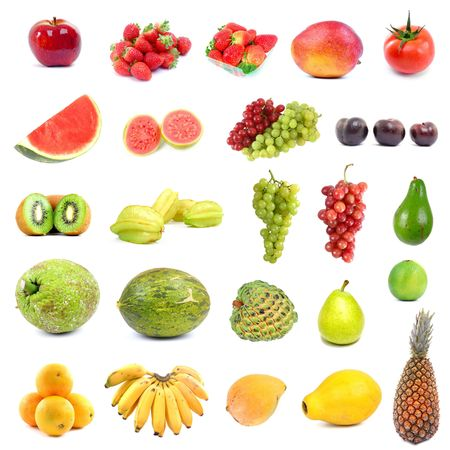 Big collection with differents fruits on white .