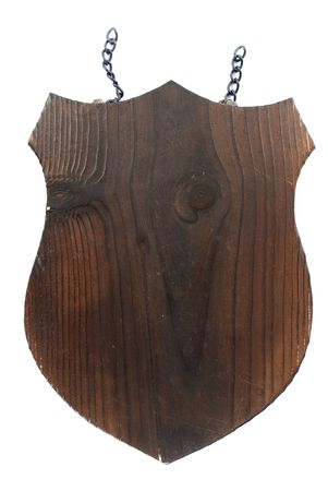plaque: Wooden Shield Plaque on white background .