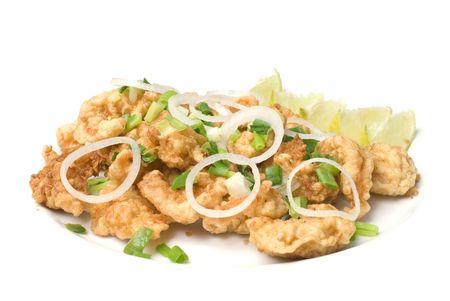 seasoned: Fried Shrimp Tempura decorations with green onion and onions