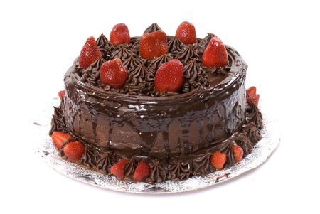 Chocolate Cake with strawberries on white . Stock Photo