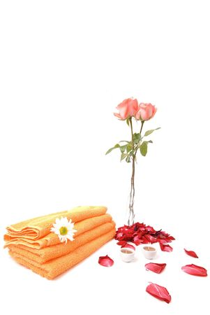rejuvenating: Objects - flowers and towel on white background .