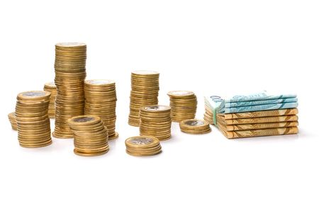 Money of Brazil - Brazilian Currency and Coins Stock Photo