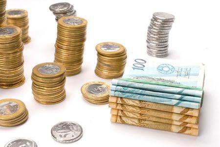Argent du Brésil - devise brésilienne et pièces  Banque d'images - 3994297