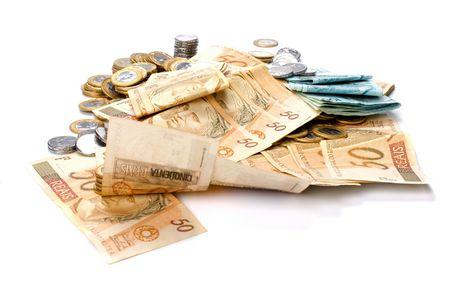 Geld von Brasilien - brasilianische Währung und Münzen Standard-Bild - 3994295
