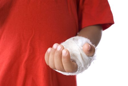 dislocation: Boy hand immobilized close up . Stock Photo