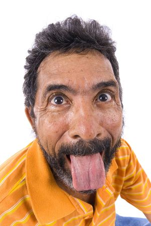 man with a goatee: Portrait of Senior showing his tongue .