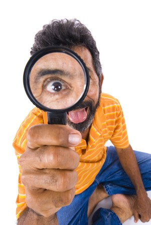 inspector kid: Crazy Man holding a magnifying glass .