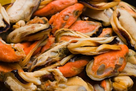 seafruit: Sea Fruits background - Raw Mussel  . Stock Photo