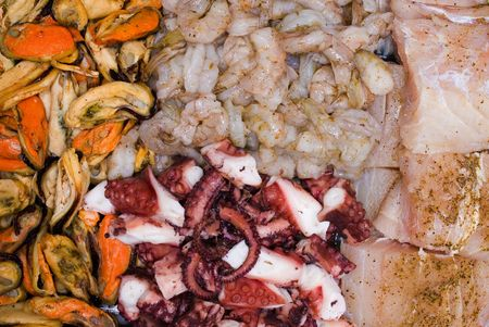 seafruit: Sea Fruits background - Raw Mussel, Shrimps, Fish and Octopus .