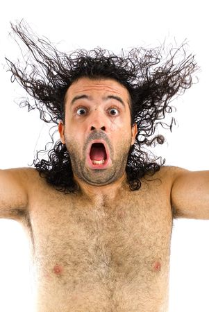 hombre asustado: Miedo hombre gritando alto - Studio shot