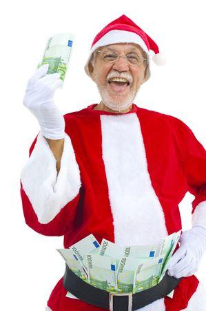 christmas profits: Senior with Santa Claus Costume earning money in Christmas