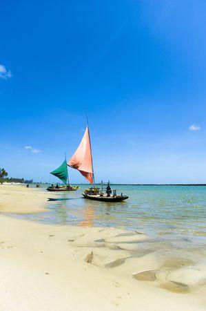 Jangada - fishing boat in Porto de Galinhas, Pernambuco - Brazil photo