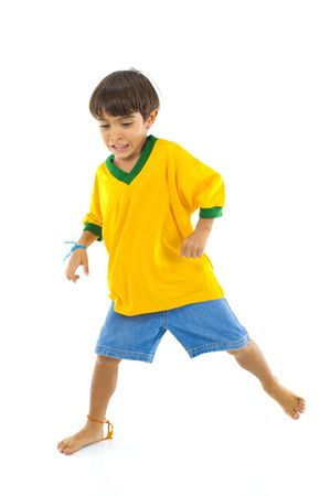 Young Child with Brazil Yellow T-shirt  . photo