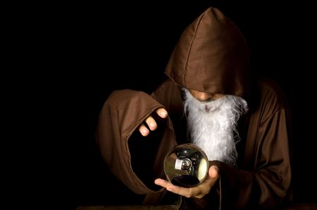 Wizard and his Crystal Ball - Waiting for your Future . Stock Photo - 6254691