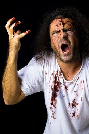 hombre sucio: Retrato de un Crazy y sucios de hombre. Foto de archivo