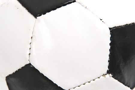 futball: Detail of black and white soccer ball .