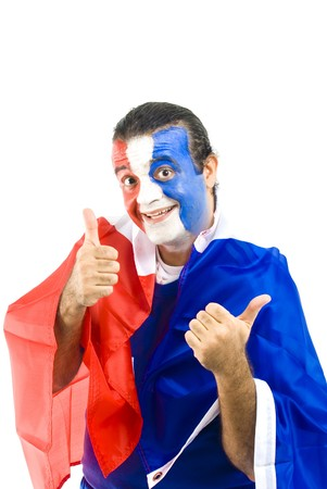 Happy French Supporter on white background . photo