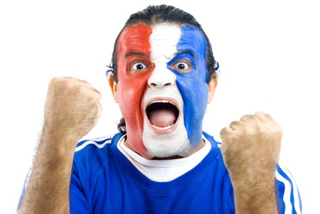 supporter: Happy French Supporter on white background .
