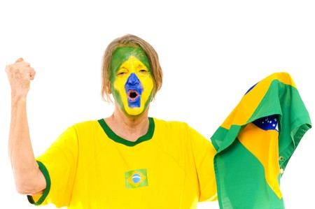Happy Brazilian sport fan scream a score  photo