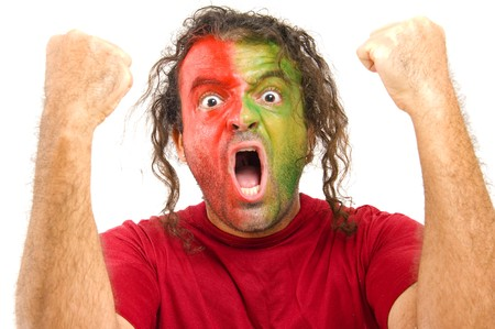 Happy Portugal Fan celebrating a score or goal photo
