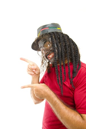 jamaican man: Portrait of Happy Man with Afro hat . Stock Photo