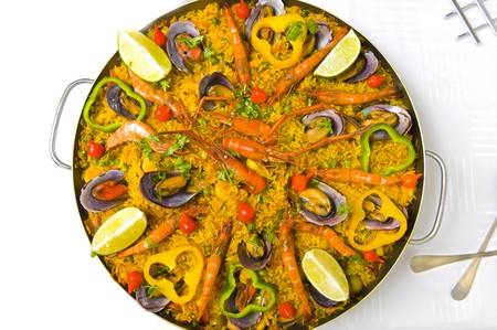 Pan with spanish sea food, Paella . photo