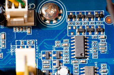 main board: Detail of Computer mother board connections .