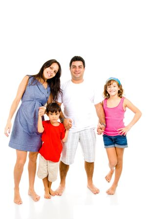 Adult Couple and children on white background . Stock Photo - 7707946