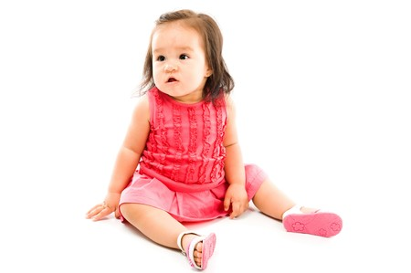 childishness: Photo of Asian baby on white background .