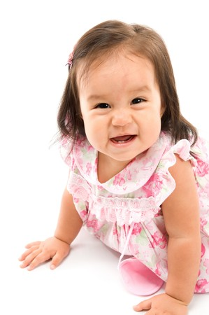 smilling: Cute asian baby smilling on white background .