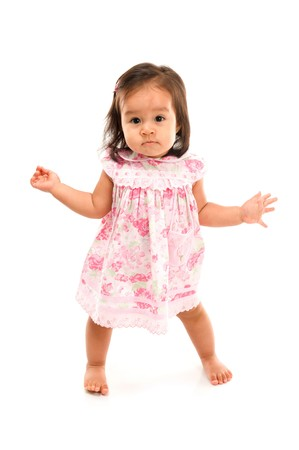Cute asian baby on white background . Stock Photo