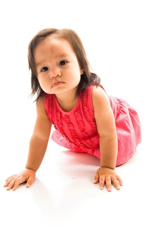 Cute Asian baby crawling on white background . photo