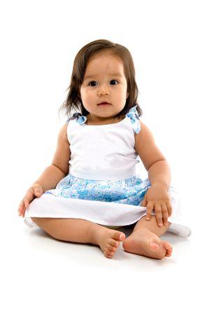 Glücklich ashtray Baby auf weißem Hintergrund.