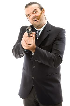 Man Holding a fire gun and smoking a cigar photo