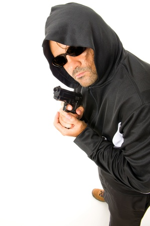 Man Holding a fire gun over white background . photo